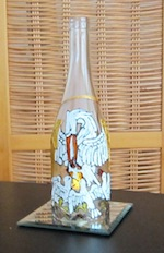The Pious Pelican votive candle holder wine bottle