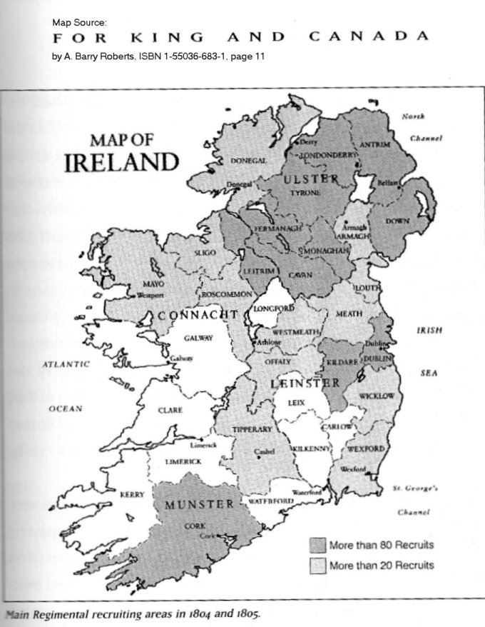 Map of Recruitment area for 99th Regiment of Foot in Ireland in 1804