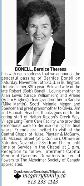 Obituary for Bernice Bonell, nee Burns, 2013
