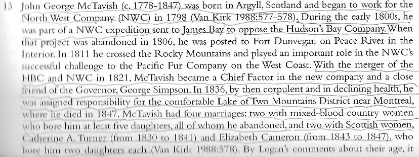 Text Block about John George McTavish - fur trade and Oka
