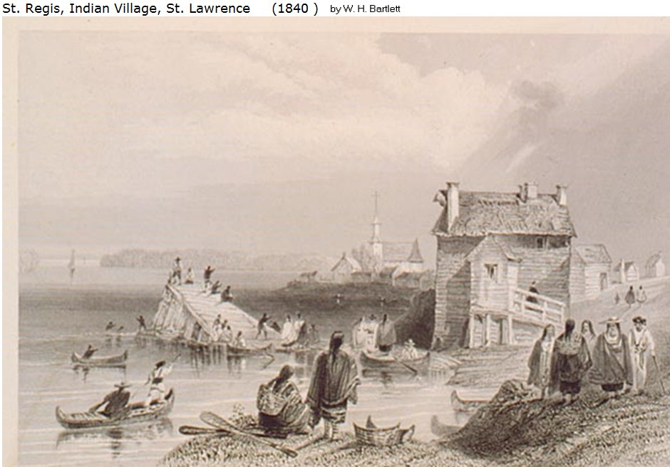 W.H. Bartlett painting, 1840, St. Regis (Akwasasne) Indian Village St. Lawrence
