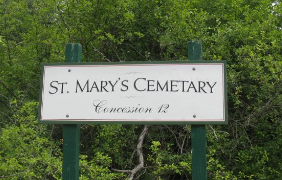 St. Mary's Cemetery at Almonte, Ontario, Canada sign