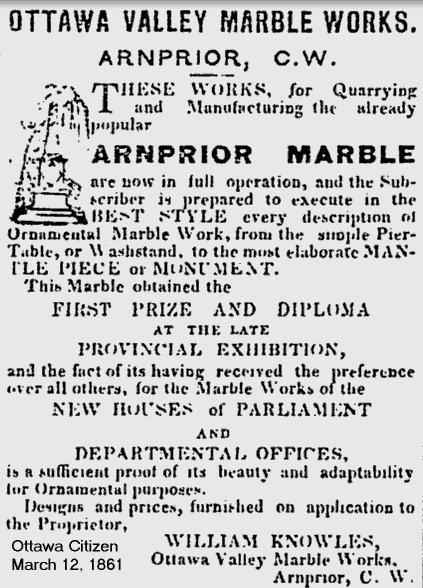 Arnprior Marble Company, Arnprior, Ontario, Canada, in 1861