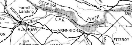 Map showing location of Arnprior, Ontario