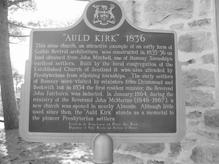 Auld Kirk Plaque at Almonte, Ontario, Canada