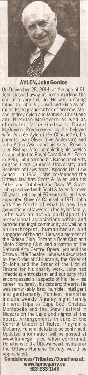 Obituary of John Gordon Aylen, Ottawa Citizen, December 27, 2014, page E4