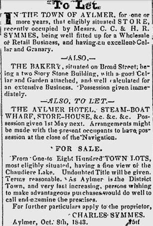 Aylmer, Quebec, Advertizement in the Bytown Gazette, 1844