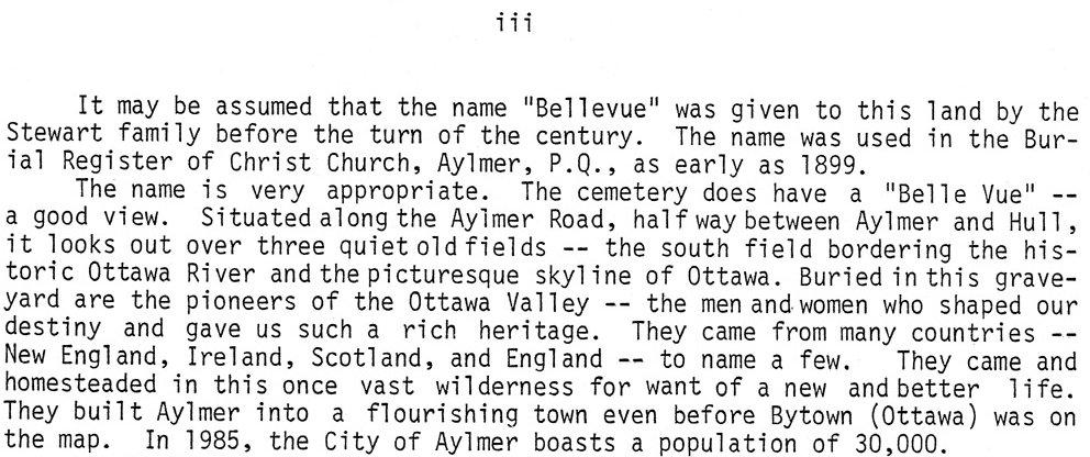 Bellevue Cemetery, Aylmer Road, Aylmer, Quebec