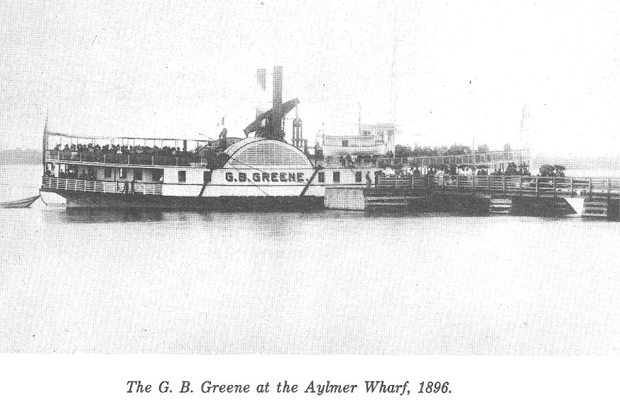 The G. B. Greene at the Aylmer, Quebec Wharf in 1896