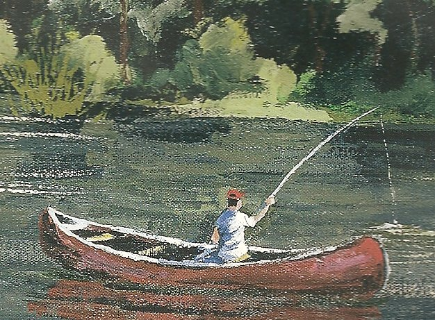 Ben Babelowski -- Painting of a Fisherman in a canoe at the Nation River, Plantagenet Township, Ontario, Canada, 2002