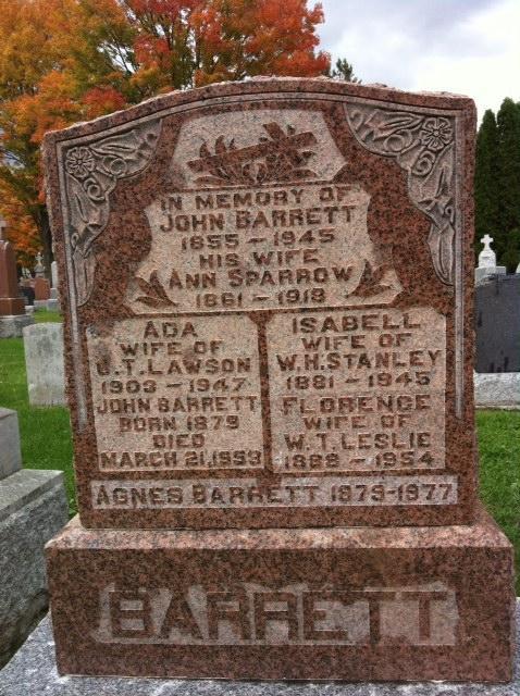 John Barrett Grave Marker at Notre Dame Cemetery, Ottawa