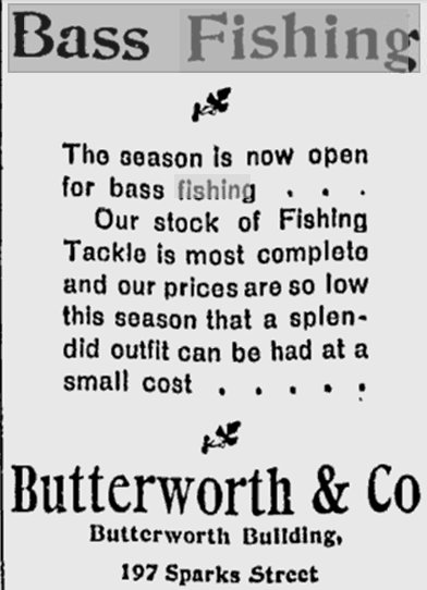 Butterorth Fishing Tackle Store, Ottawa, Canada, 1898