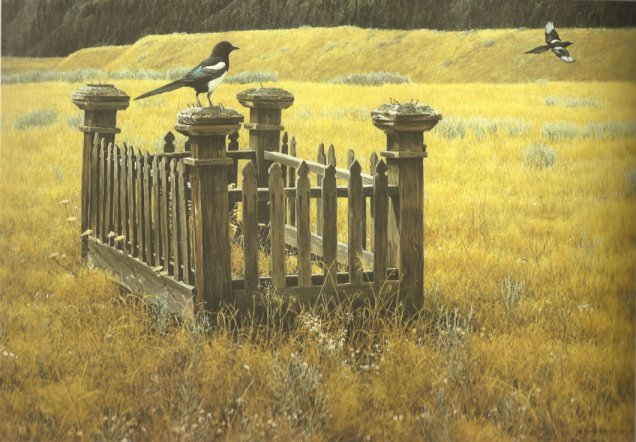 Fenced Pioneer Grave Marker painting by Robert Bateman