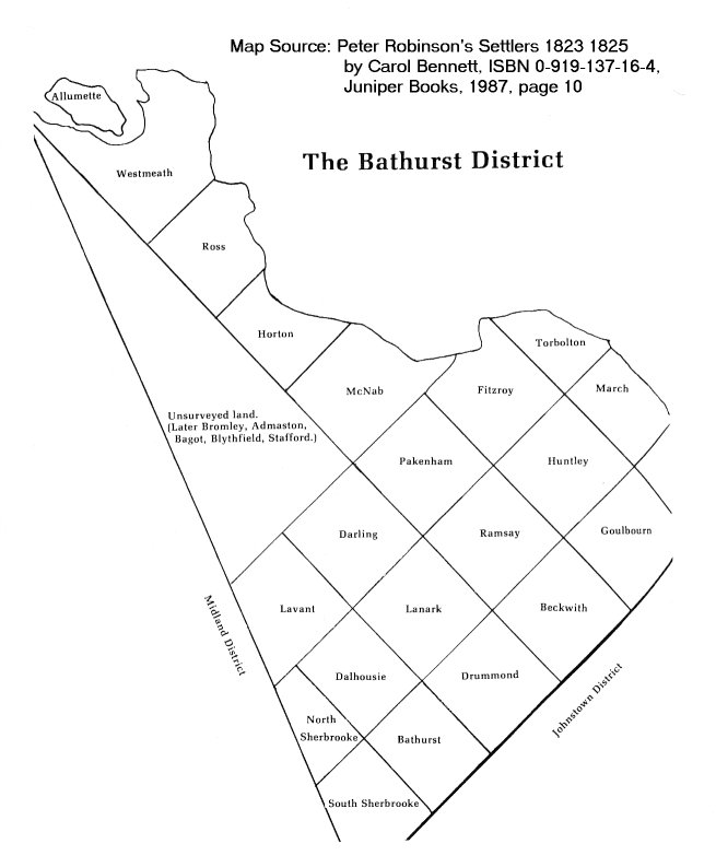 Bathurst District Map, Upper Canada