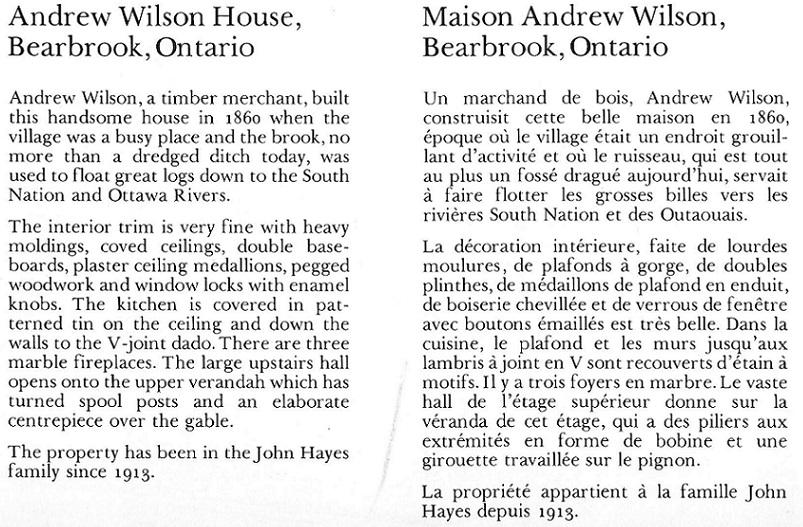 Description of of Andrew Wilson House, Bearbrook, Ontario, Canada