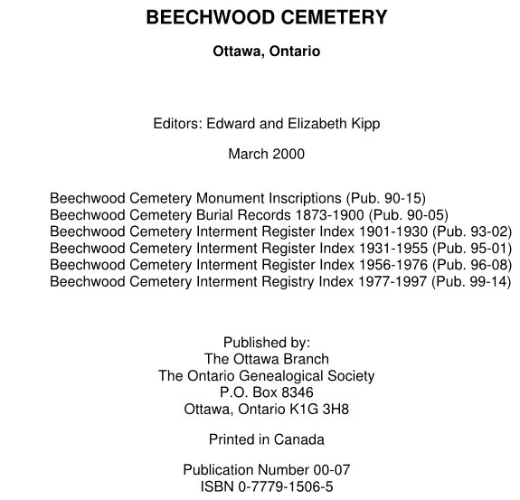 Transcription of the records of Beechwood Cemetery, Ottawa, Ontario, Canada