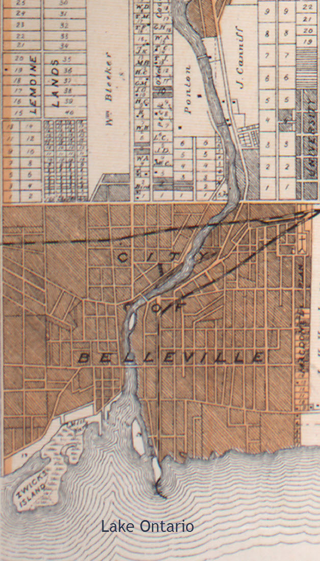 Map showing Belleville, Ontario, in 1879
