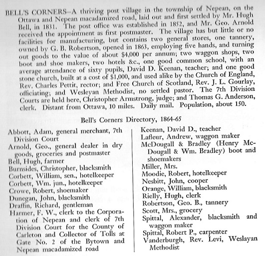 Bell's CornersDirectory Listing 1864 and 1865