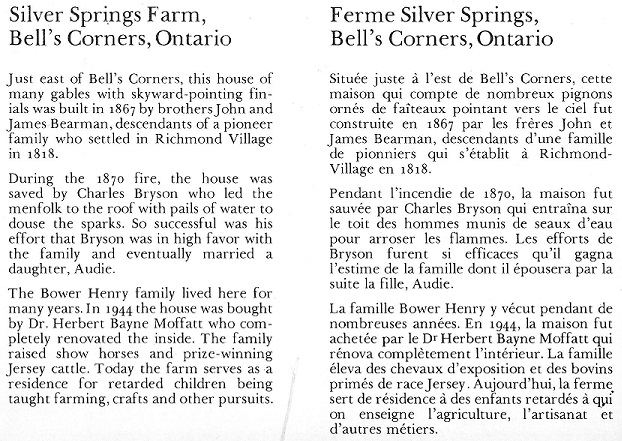 Bell's Corners, Silver Springs Farm Text