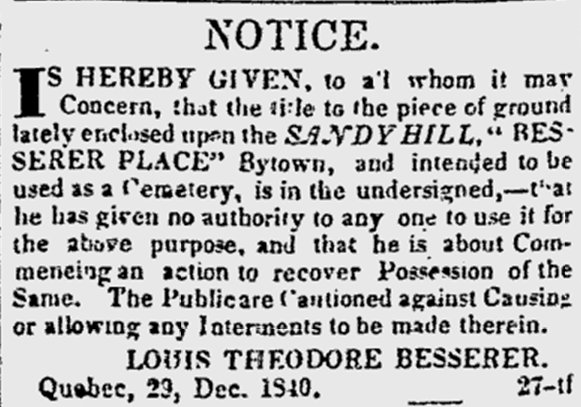 Besserer Land in Sandy Hill, Ottawa, Canada, 1841