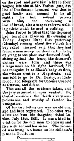 Death of Mr. Moses Black in Goulbourn Township in 1881