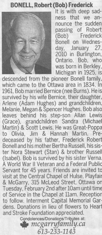 Obituary for Robert Frederick Bonell, 1925-2010