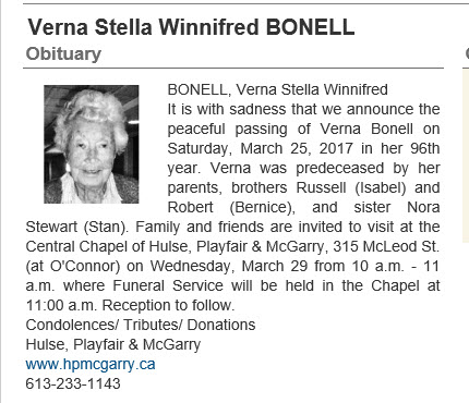 Obituary for Verna Stella Winnifred BONELL