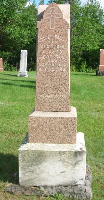 Bridget Brazzell stone at St. Ann's Roman Catholic Church at Merrickville, Ontario, Canada