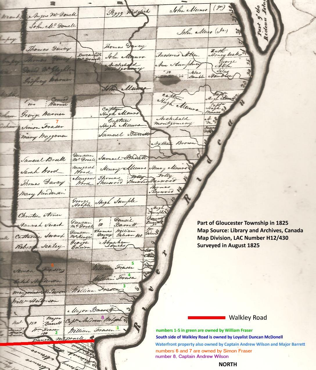 Map of Gloucester Township, Upper Canada, in 1825
