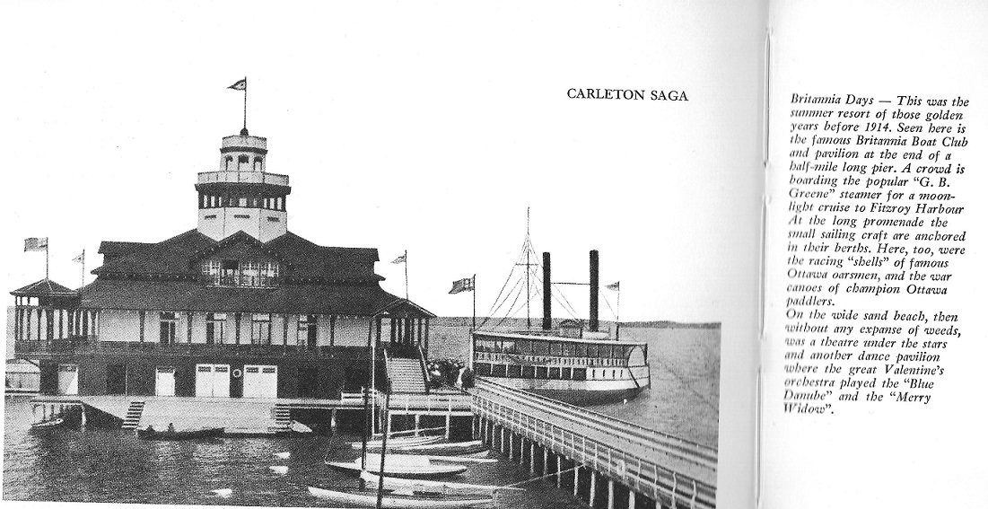 The pier at Britannia Bay, Ottawa River, with clubhouse and steamer