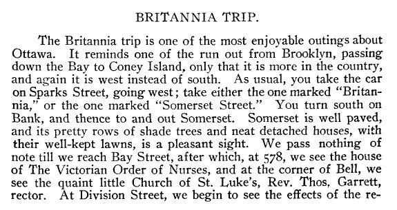 Streetcar trip to Britannia in 1900