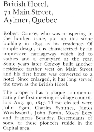 British Hotel, Aylmer, Quebec Canada - Text
