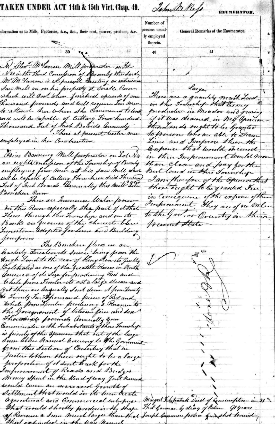 Part of Bromley Census, 1851, Ontario, Canada