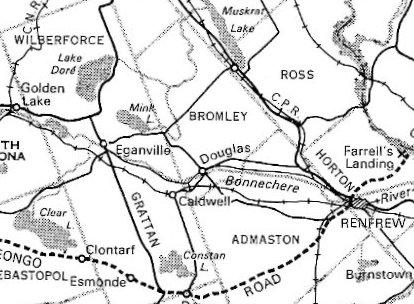 Map showing Bromley Township, Renfrew County, Ontario, Canada