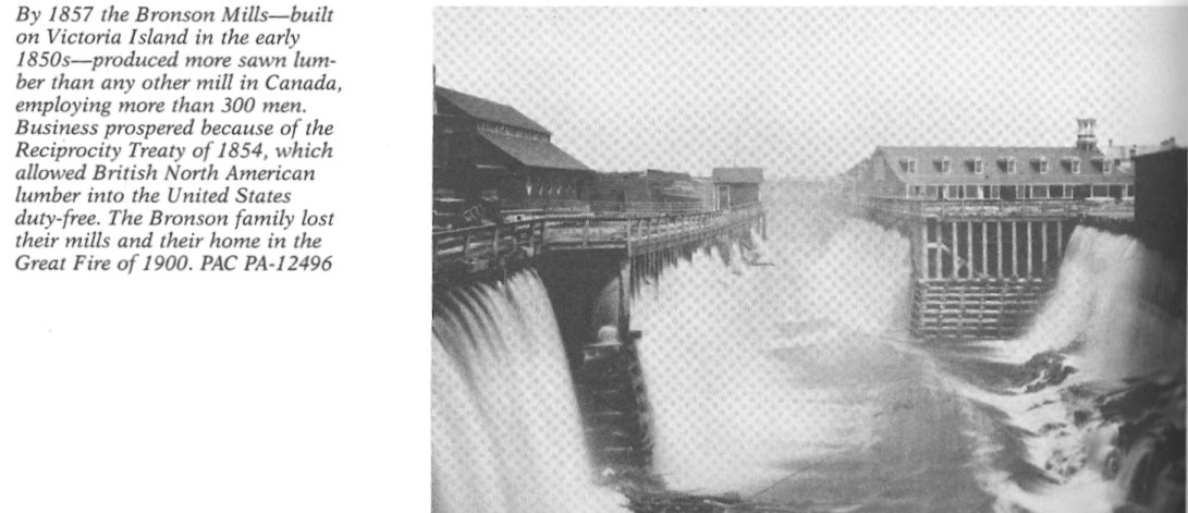 The Bronson family's Sawmills at Chaudiere Falls in 1857