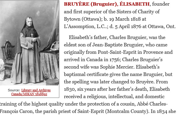 Sister Elizabeth Bruyere from the Dictionary of Canadian Biography
