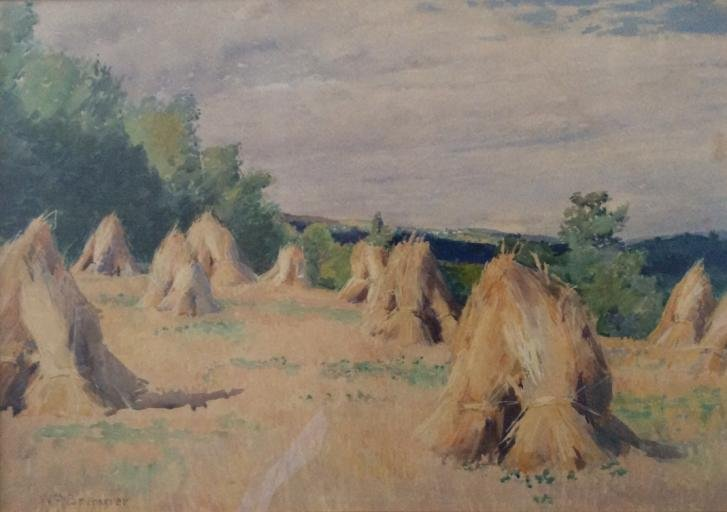 Painting by William Brymner, Canadian Artist -- Wheatfield - St. Eustache