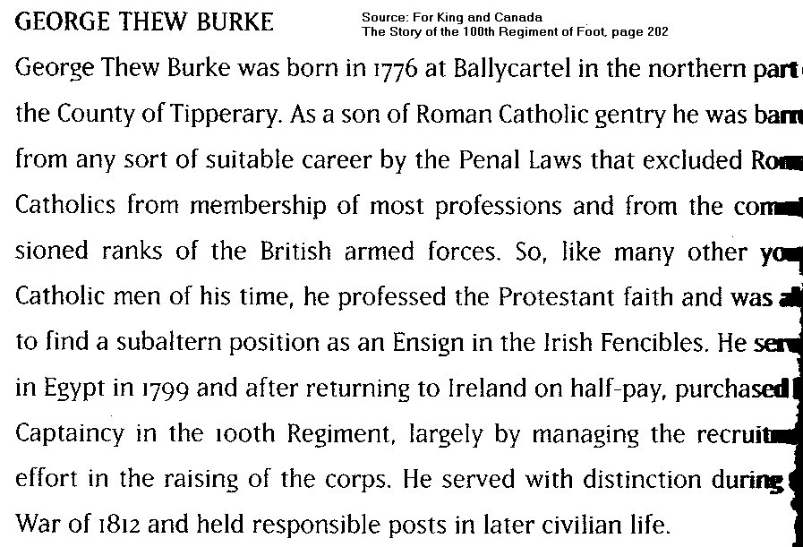 Text relating to George Thew Burke