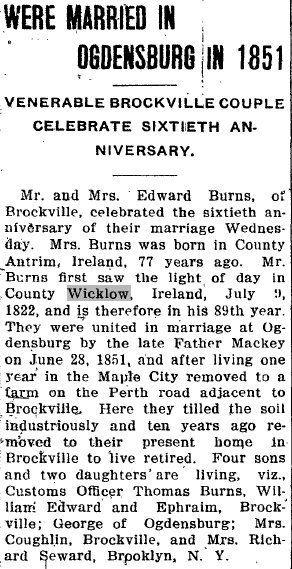 Annivisary of Mr. and Mrs. Edward Burns of Brockville