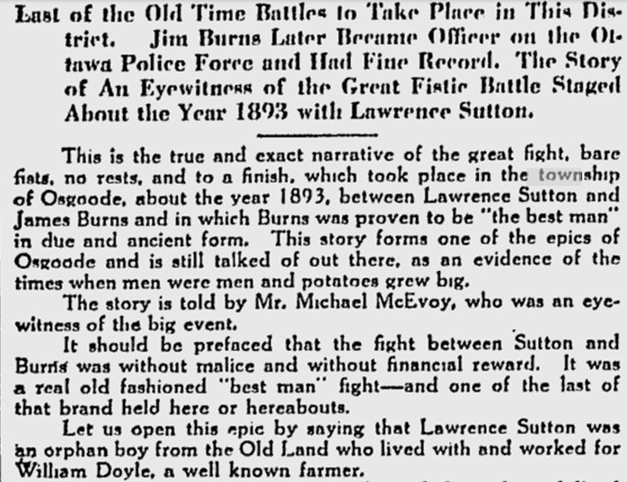 James Burns / Lawrence Sutton Fight, c. 1893