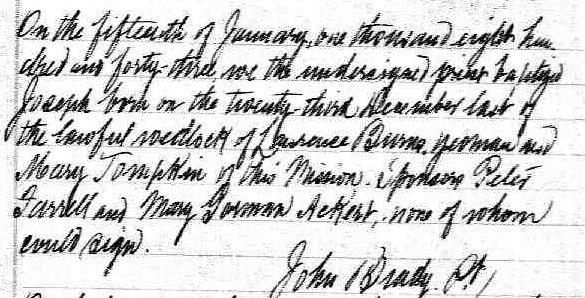 Birth Record of Joseph Burns