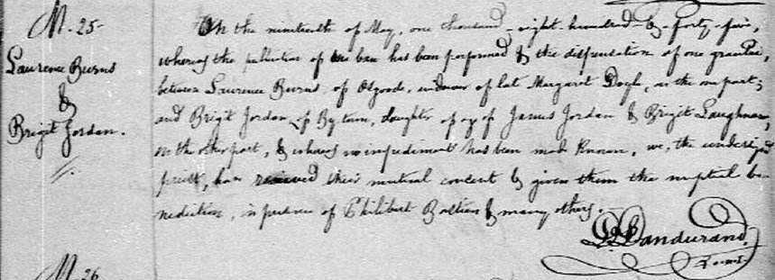 Marriage of Lawrence Burns and Bridget Jordan in 1845