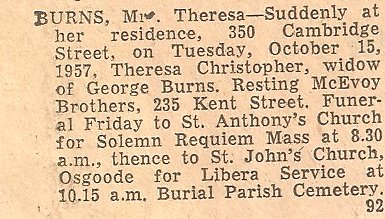 Obituary of Catherine Theresa BURNS nee CHRISTOPHER, 1957