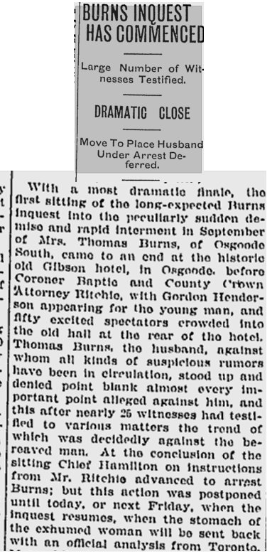 Inquest for Mrs. Thomas Burns, Osgoode Township, Ontario, Canada