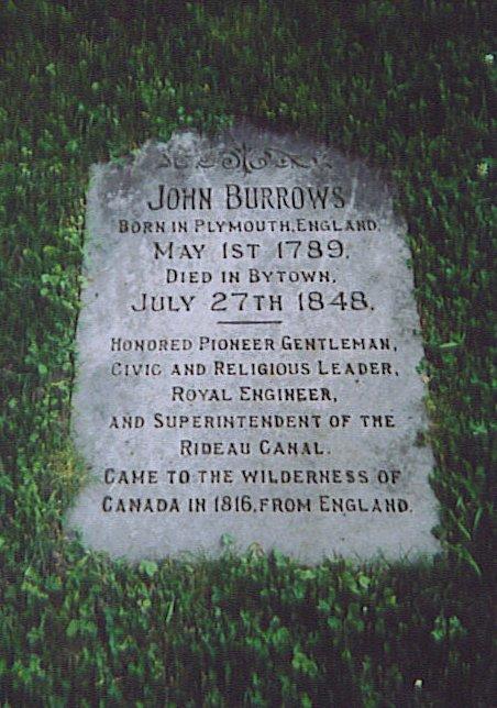 John Burrows, Bytown / Ottawa -- Grave Marker