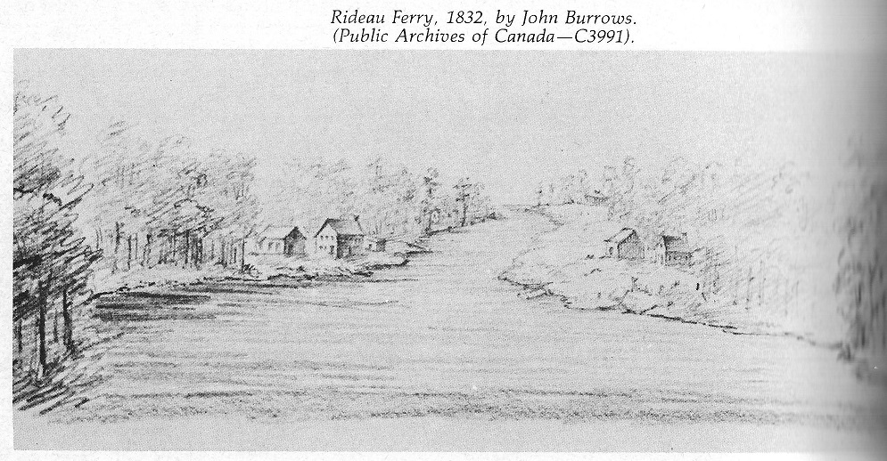 Rideau Ferry 1832, painting by John Burrows