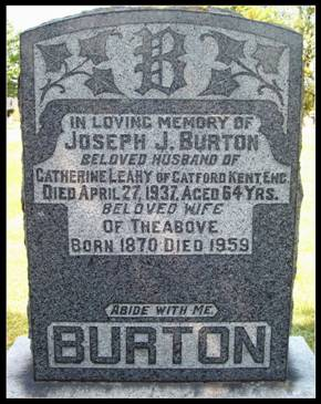 Grave stone of Joseph Burton and Catherine Leahy at Merivale Cemetery