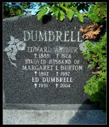 Grave stone of Edward Dumbrell and Margaret Burton