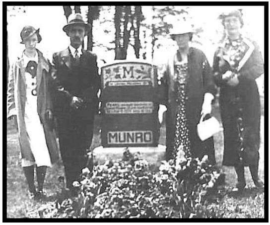 Joseph Burton, Catherine Burton, Kathleen and sister at the grave of Kathleen's daughter, Pearl