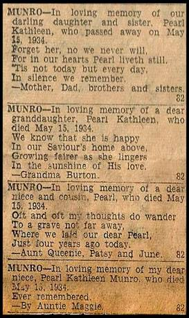Memorials for Pearl Munro by members of her family